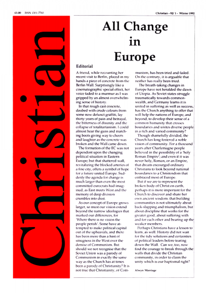 Christian Journal – 1992/1 – All Change in Europe