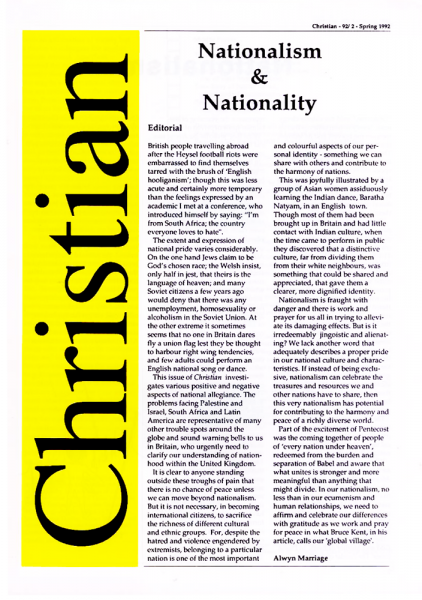 Christian Journal – 1992/2 – Nationalism and Nationality